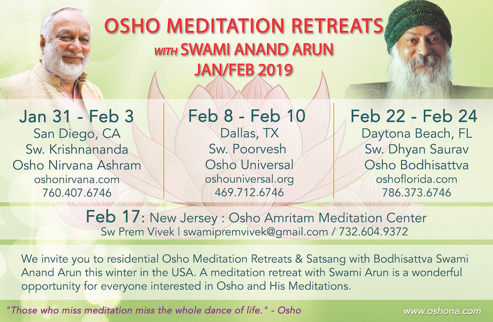 Osho Meditation retreats Jan-Feb 2019
